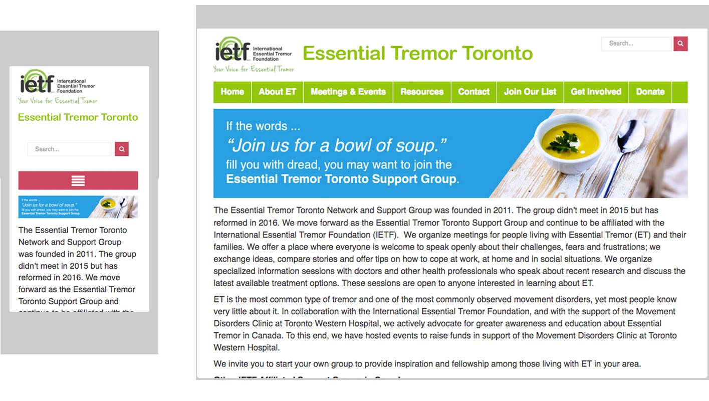 Essential Tremor Toronto's website